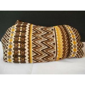 GEOMETRIC BROWN GOLD STRIPE THROW Blanket 50 x 70